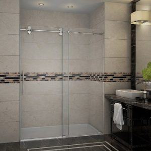 Aston Langham Completely Frameless Frosted Glass Sliding Shower Door