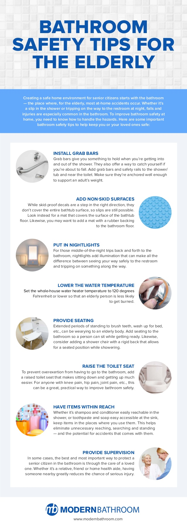 Bathroom Safety Tips for the Elderly Infographic