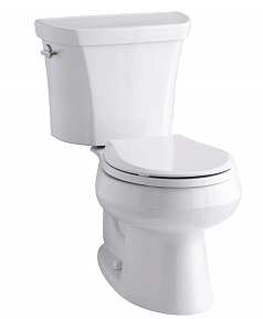 KOHLER K-3987-0 Wellworth Two-Piece Round-Front Dual-Flush Toilet