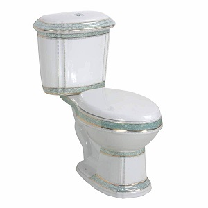 White and Green Porcelain Elongated Two-Piece Dual Flush Toilet